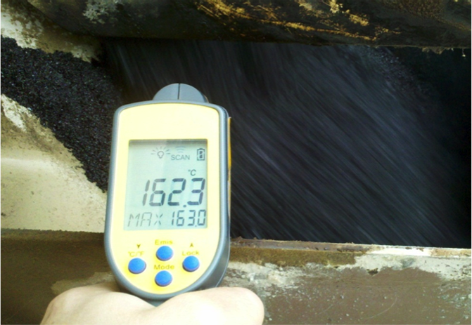 Temperature reading of 162.3 degrees Celsius from hot mix asphalt