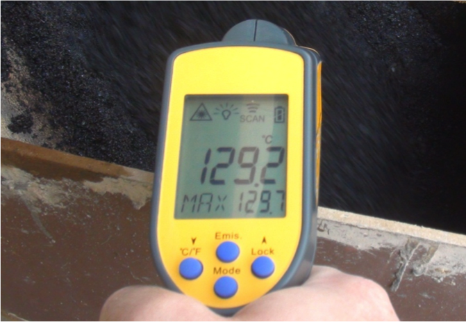 Temperature reading of 129.2 degrees Celsius from warm mix asphalt